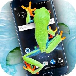 Frog Walking On Screen Joke Just4fun Mobile
